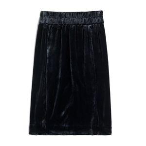 New JCREW Black Tall Pull On Velvet Skirt